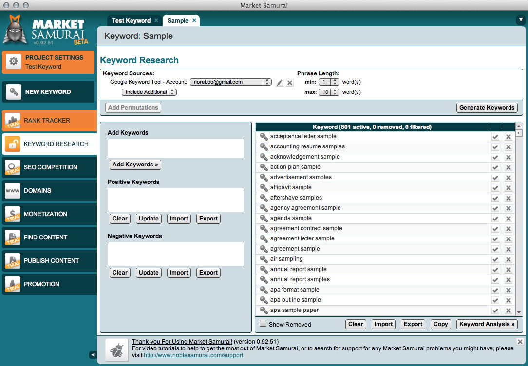 keyword search tool screenshot