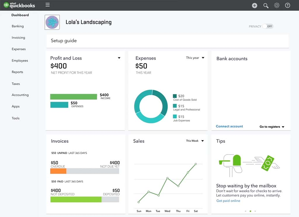 QuickBooks Self Employed dashboard
