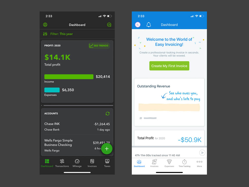 QuickBooks and FreshBooks mobile app home screens