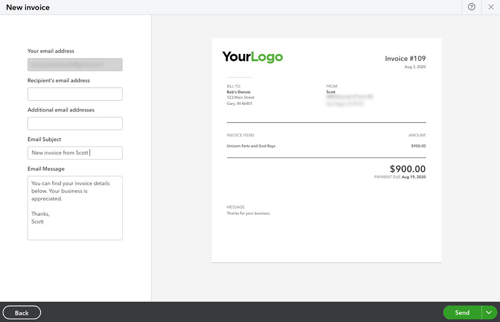 quickbooks invoice preview